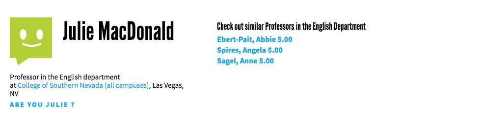 rate my professor julie